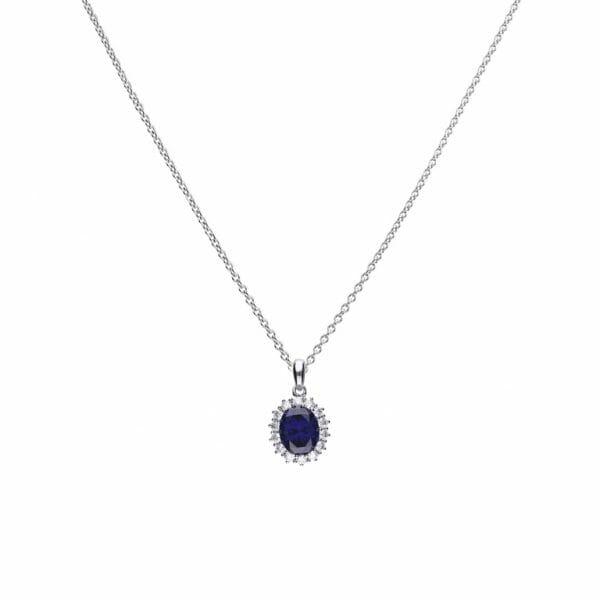 Diamonfire Blue Sapphire Coloured Oval Cluster Pendant