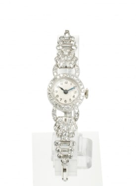 Diamond And Platinum Manual Cocktail Watch